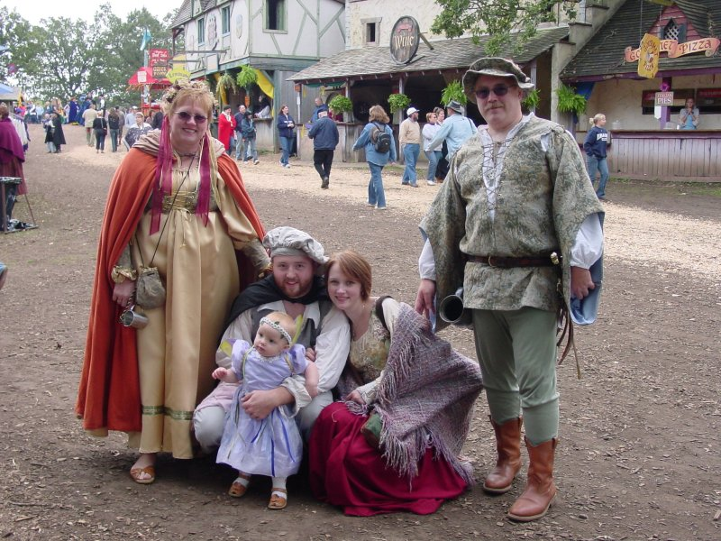Roseann Bingen (Bob's Wife), Bob's son Matthew Bingen, his Granddaughter Jaden, daughter-in-law Maranda, and Bob Bingen at the Minnesota Renaissance Fair.