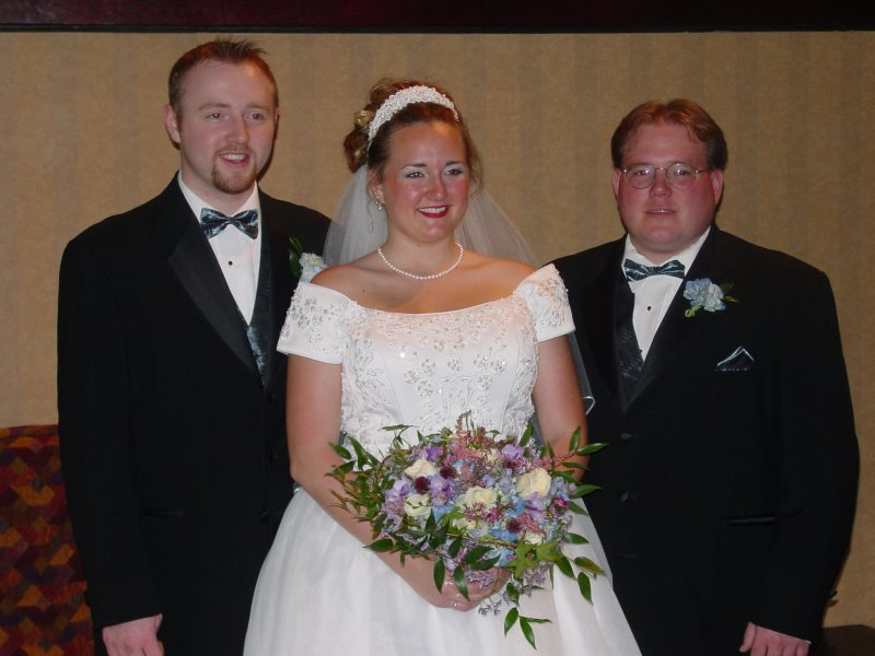 Matthew, Heather and Jeremy Bingen at Heather's wedding