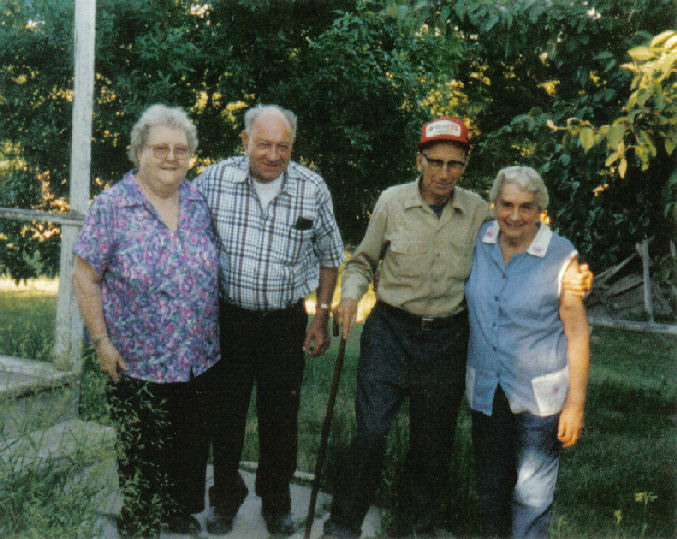 Leroy & Lillian Bingen, Leo & Rita Marso on Marso farm in Marietta, MN, June 15, 1997.